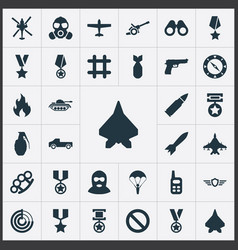 set of simple combat icons vector image