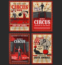 Shapito big top circus funfair show retro posters vector