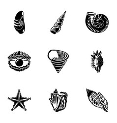 shell icons set simple style vector image