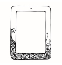 Sketch tablet computer with curls doodle ornament vector