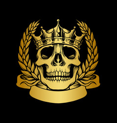 skull gold crown with ribbon vector image