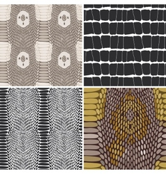 Snake skin texture set Seamless pattern vector