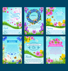 Spring sale and springtime holiday card template vector