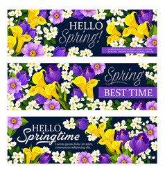 Springtime holiday greeting banners vector