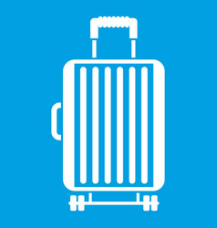 suitcase on wheels icon white vector image