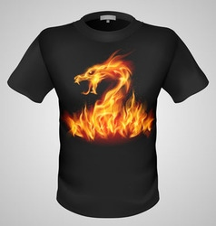 t shirts Black Fire Print man 24 vector image