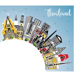 Thailand city skyline with color buildings blue vector