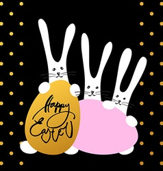 three bunny happy easter vector image