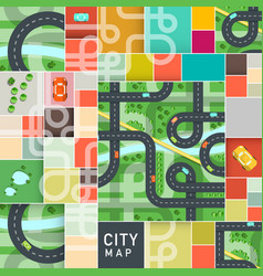 top view city map with roads and cars on strets vector image