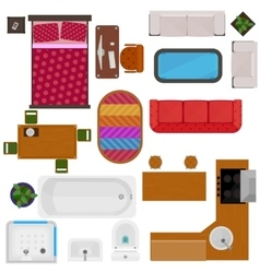Top View Of Home Furniture vector image