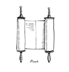 Torah scroll book bible shavuot vector