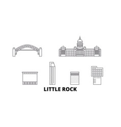 United states little rock line travel skyline set vector