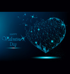 valentine day greeting card with polygonal heart vector image
