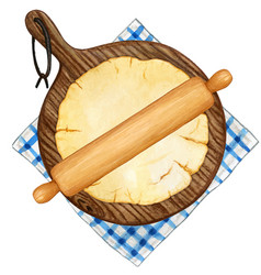 watercolor pastry with rolling pin big round vector image