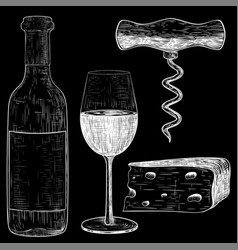 wine set white hand drawn sketch on black vector image