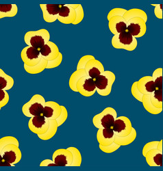 Yellow pansy flower on indigo blue background vector