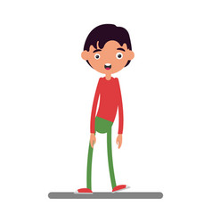 Young man standing happy smile character vector