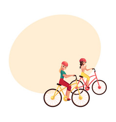 young woman riding bicycle cycling together with vector image