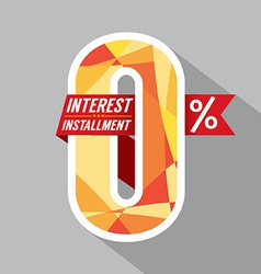 Zero Percent Interest Installment vector image