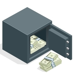 Bank safe with money dollar stacks Safe open with vector image