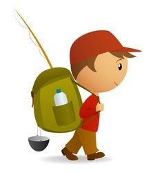 cartoon traveller man with big backpack vector image vector image