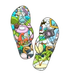 Summer slippers abstract design vector image