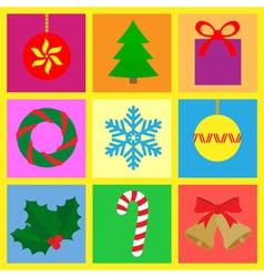 symbols with a christmas theme vector image