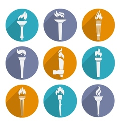 Torch Icons Set vector image vector image