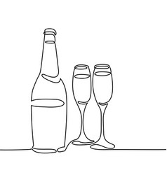 champagne bottle and two glasses isolated vector image vector image
