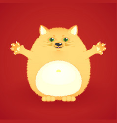 funny fat ginger cat vector image