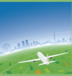 Melbourne skyline flight destination vector