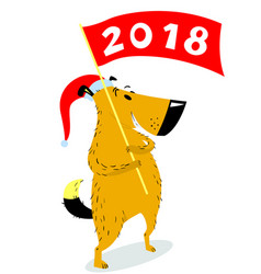 new years dog character with banner cute pet vector image vector image