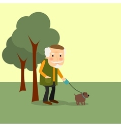 Old man with dog in park vector image