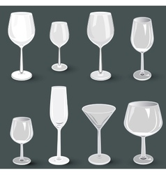 Set of glass wine glasses and champagne for a vector image