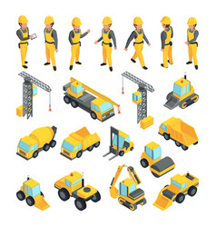 transport and workers for construction buildings vector image
