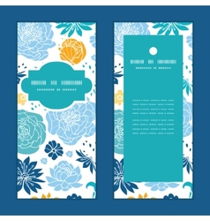 blue and yellow flowersilhouettes vertical frame vector image vector image