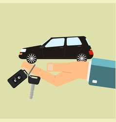 Car rental or sale concept hand hold car and car vector