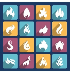 Fire Icons Set vector image