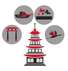 Pagoda traditional building japanese architecture vector