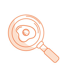 Silhouette delicious fried egg inside skillet pan vector