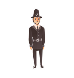flat english policeman in classic uniform vector image vector image