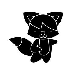 fox cute icon black sign on vector image