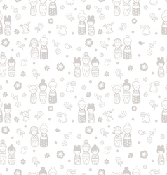 seamless pattern with dolls kokeshi vector image vector image