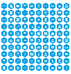 100 police icons set blue vector