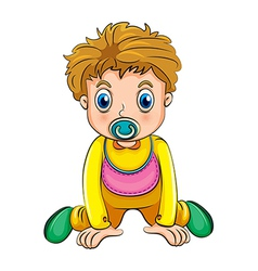 A growing boy with a pacifier vector