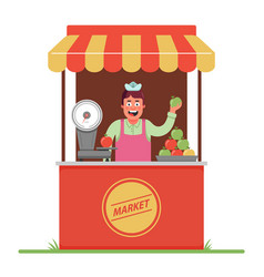a market seller sells and weighs apples small vector image