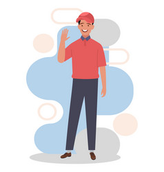 A young happy courier shows hand gesture vector