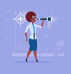 African american business woman with binoculars vector