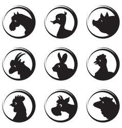 Animals farm silhouette icon set vector