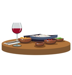 Asian food and wine vector